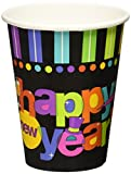 Bright Stripes New Year Party Cups Tableware, Multi Colored, Paper, 9 Ounces, 50-Piece