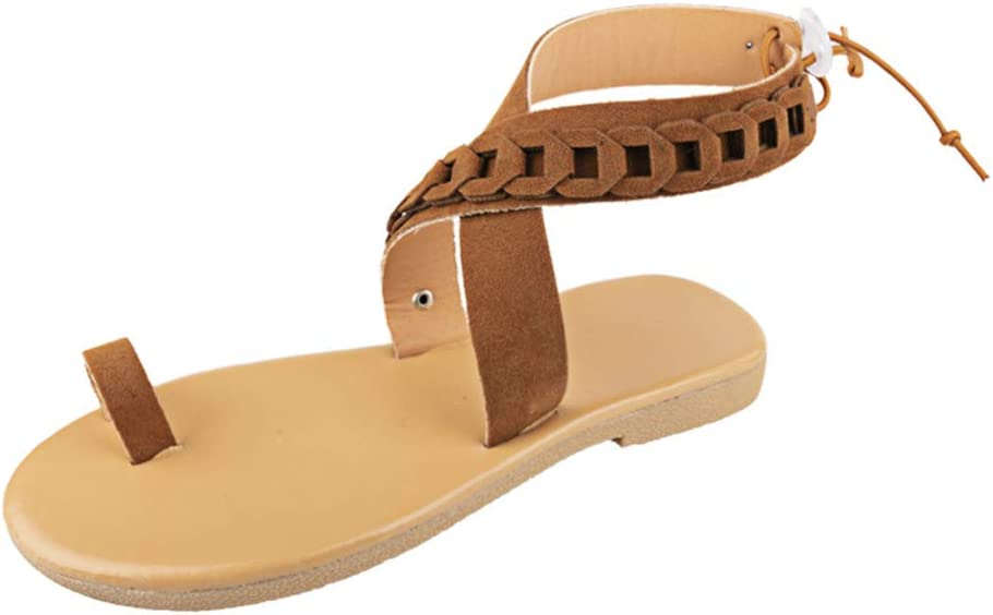 Staron Womens Summer Ankle Strap Flat With Sandals Open Toe Shoes Clip Toe Flip Flops Flat Bottom Sandals Shoes