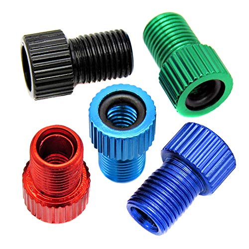 Bike Bits Presta Valve Adapter - Convert Presta to Schrader - French/UK to US - Inflate Tire Using Standard Pump or Air Compressor (5 Pack) (Multi)