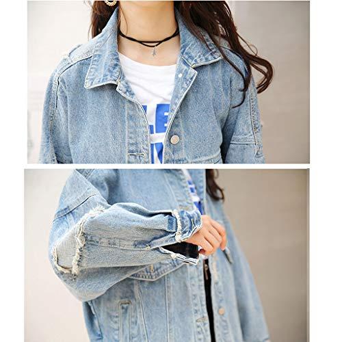 Sciolto Con Cappuccio Maniche Lunghe colore Nz Uomo Azzurro Jeans Azzurro A Harajuku In M Donna Dimensioni Da Giacca wPXvqP1S