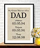 Cute Burlap Personalized Gift for Dad Father's Day Gift From Kids My Greatest Blessings Call Me DAD Family Date Sign , Gift Ideas #B_PRINT_41