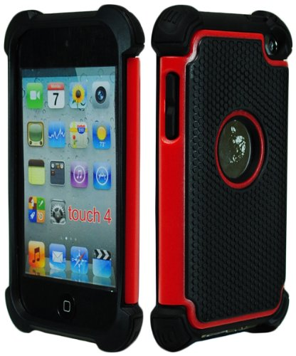 iPod Touch 4 Case, Bastex Hybrid Slim Fit Black Rubber Silicone Cover Hard Plastic Red & Black Shock Case for Apple iPod Touch 4, 4th Generation (Apple Ipod Red)