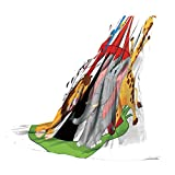 SCOCICI Super-Thick Flannel Warm Sofa or Bed Blanket,Circus Decor,Trained Performer Acrobat Animals in Circus Tent Happy Giraffe Elephant Joyful Art,Red Green Yellow,39.37' W x 59.06' H
