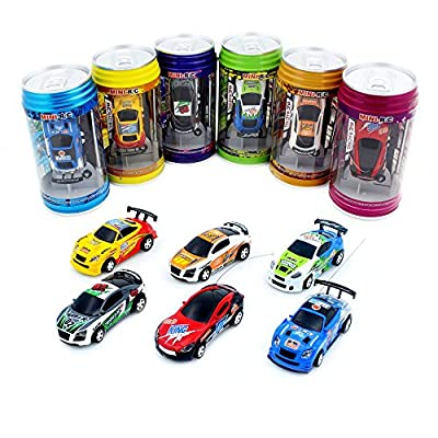 Cans type mini RC car with 4pcs roadblocks,color random?Suitable for the game