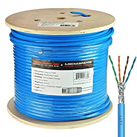 "Mediabridge Solid Copper Cat7 Ethernet Cable (500 Feet, Blue) - Low-Smoke Zero Halogen Jacket (Part# C7-500-BLUE) 79 Universal connectivity to computers & network components, such as routers, switch boxes, network printers, network attached storage (NAS) devices, voip phones & PoE devices Supports up to 600 MHz & is low-smoke Zero halogen (LSZH) for excellent Fire safety characteristics of Low smoke, Low toxicity & Low corrosion. Pair with RJ45 connectors for Professional custom installations. 23AWG (0.3"" outer Diameter) durable build preserves signal quality & still Manages to take up only minimal wall space."