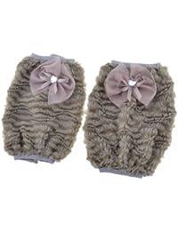 Get Bowknot Detail Plush Elastic Arm Covers Sleevelets Pair Gray saleoff