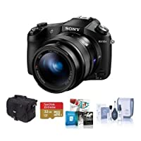 Sony Cyber-Shot DSC-RX10 II Digital Camera, Black - Bundle with Camera Bag, 32GB Class 10 SDHC Card, Cleaning Kit, Software Package from Sony