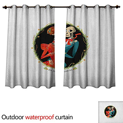 Anshesix Day of The Dead Outdoor Curtain for Patio Skeleton Couple in Love Oval Frame with Green Leaves Mexican Tradition W108 x L72(274cm x 183cm)