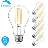 Dimmable LED Light Bulbs, 100W Equivalent Filament Edison Bulbs, A21 Vintage LED Blubs Daylight White, Medium Screw Base (E26), 1100 Lumens, 6-Pack (5000K)