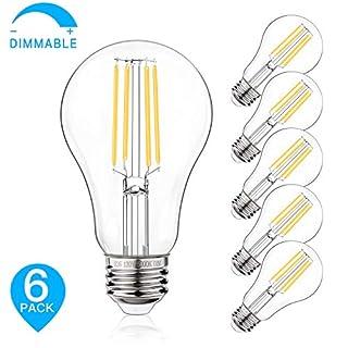 100W Equivalent Filament Edison Bulbs Clear Glass, Dimmable LED Light Bulbs, 10W A21 Vintage LED Blubs 5000K Daylight White, Medium Screw Base (E26), 1100 Lumens, 6-Pack