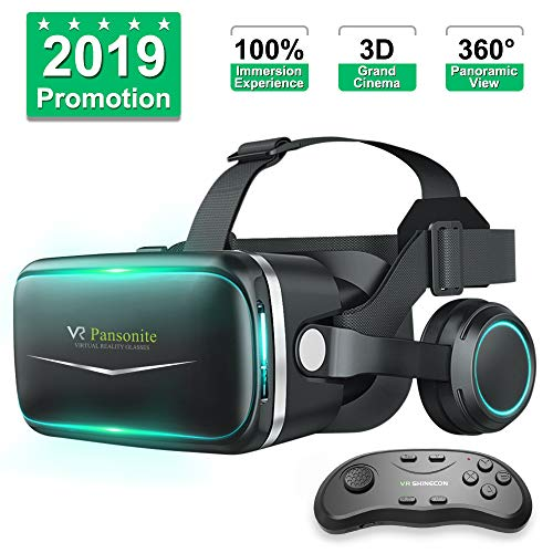 Pansonite Vr Headset with Remote Controller[New Version], 3D Glasses Virtual Reality Headset for VR Games & 3D Movies, Eye Care System for iPhone and Android Smartphones ()