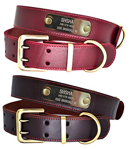 W&Z Premium Custom Personalized Genuine Leather Dog Collars with ID Name Plate, Dog Collar with Engraved Name and Phone Number, Durable Soft Dog Collars for Small Medium Large X-Large Dogs-Wine Red,L