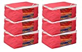 Kuber Industries™ Non woven Saree cover Bag Set of 6 Pcs /Wardrobe Organiser/Regular Clothes Bag Pink-19178