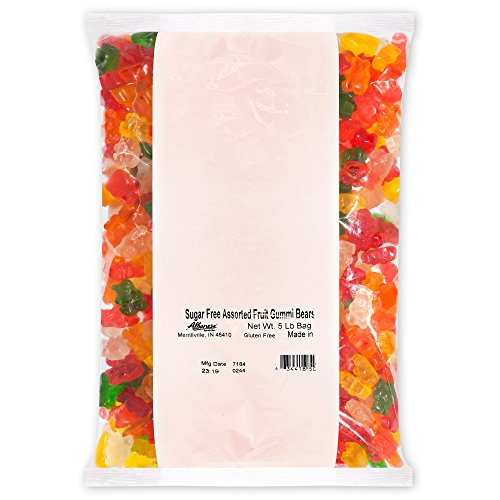 Albanese Candy, Sugar Free Assorted Fruit Gummi Bears, 5-pound Bag]()