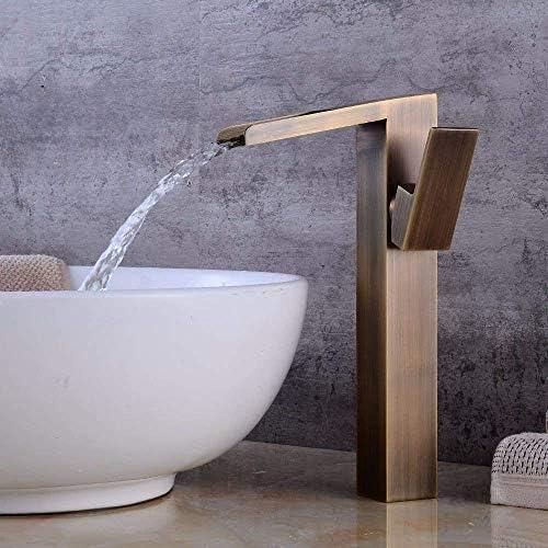 Gulakey バスルームのシンクの蛇口洗面器のミキサータップレトロ滝温水と冷水セラミック単穴シングルレバー洗面シンクタップ浴室バーの蛇口