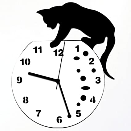 Quaanti Cat Acrylic Clock Wall Clock,Modern Home Decor Watch Wall Sticker,DIY Wall