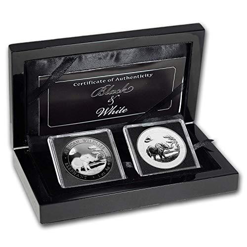 DE 2019 Somalia 2-Coin 1 oz Silver Elephant Black & White Set Brilliant Uncirculated (Elephant Coin Set)