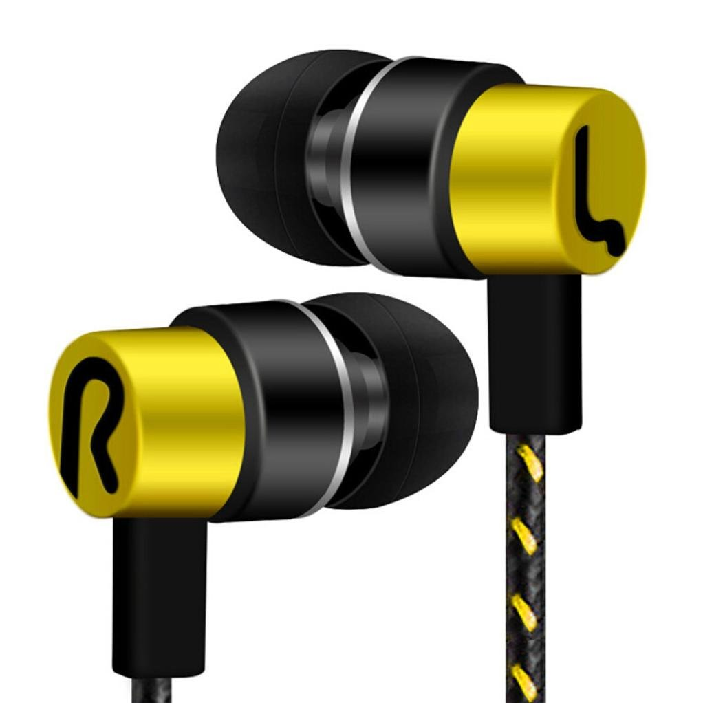 Universal Earphone , Ikevan 1PC Universal 3.5mm In-Ear Stereo Earbuds Earphone For Cell Phone (Yellow)