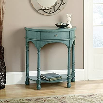 Superbe Bowery Hill Entry Table In Antiqued Teal