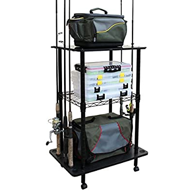 Rush Creek Creations 12 Fishing Rod Storage Tackle Cart - Durable Finish - 5 Minute Assembly