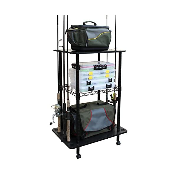 rush creek creations 12 fishing rod storage tackle cart