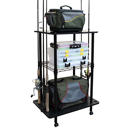 Fishing Pole Storage Racks - Rush Creek Creations 12 Fishing Rod Storage Tackle Cart - Durable Finish - 5 Minute Assembly