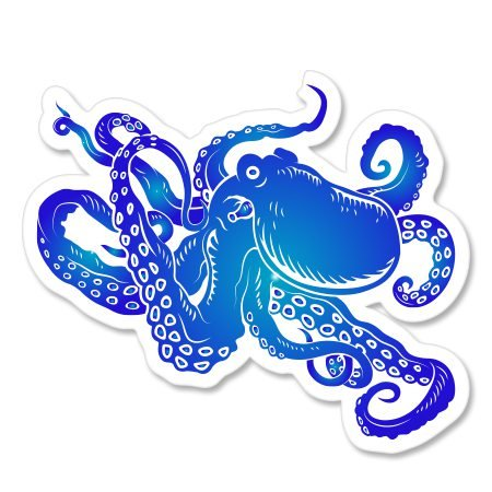 Octopus Blue Vinyl Sticker - Car Phone Helmet - SELECT SIZE thumbnail