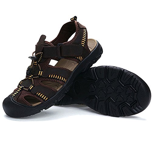 BE DREAMER Men's Sports Sandals Leather Sports Sandals Fisherman Breathable Beach Sandals£¬Dark Brown,US 11