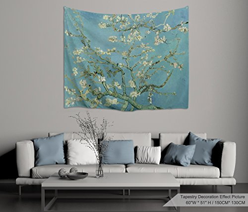 """PROCIDA Home Wall Hanging Nature Art Polyester Fabric Van Gogh Theme Tapestry, Wall Decor for Dorm Room, Bedroom, Living Room, Nail Included - 60"""" W x 51"""" H (150cmx130cm) - Almond Blossom"""