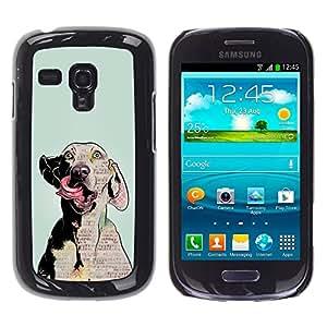 COVERO Samsung Galaxy S3 MINI NOT REGULAR! I8190 I8190N / dog art weimaraner crazy eyes grey / Prima Delgada SLIM Casa Carcasa Funda Case Bandera Cover Armor Shell PC / Aliminium