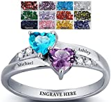 Sterling Silver Engagement Ring Promise Ring For Her 2 Heart Birthstones 2 Names & 1 Engraving Customized & Personalized