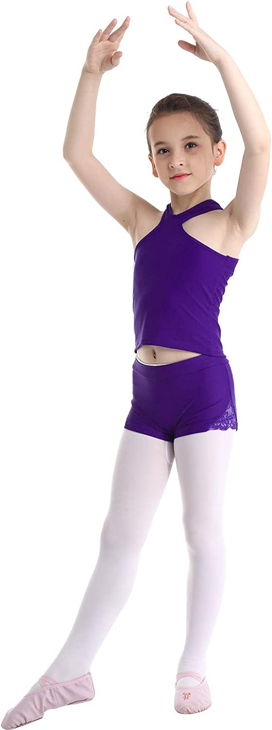 moily Little Big Girls Athletic Two Pieces Outfit Racer Back Tank Top Shirts with Booty Shorts Ballet//Dance//Sports