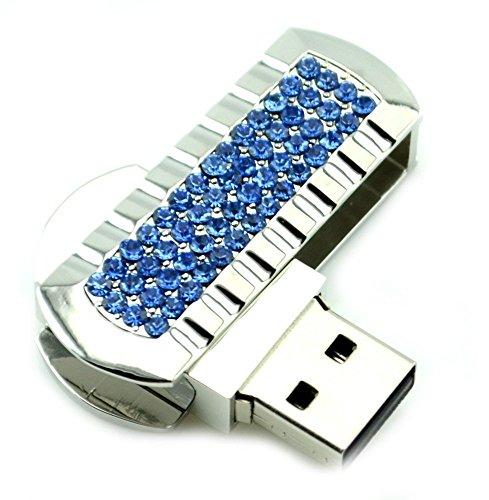 WooTeck 16GB Mini Swivel USB Flash Drive Blue Crystals Fold Storage Thumb Stick