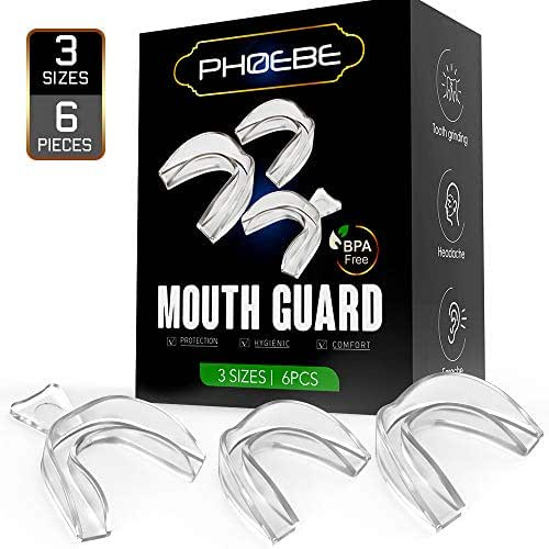 Mouth Guard for Grinding Teeth PHOEBE Night Dental Guards for Teeth Grinding,Kid Mouth Guard Mouldable Tooth Bite Guard Stop Teeth Grinding Eliminates Bruxism 6PCS