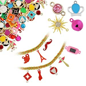 Chromo Inc Loom Charms 50 Pack - Metallic and Crystal Charms - including Digital Watch, Sunburst Pendants, Angel Wands, Skullbones, and more- (Charms may vary)