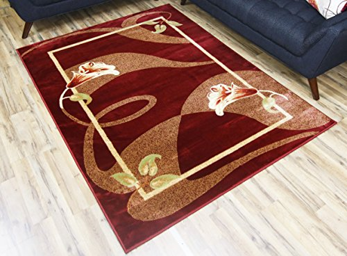 BEYAN Passion Collection Transitional Style Floral Pattern Synthetic Living Room Area Rug, 7'10