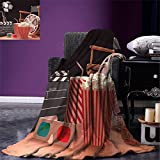 smallbeefly Movie Theater Throw Blanket Objects of the Film Industry Hollywood Motion Picture Cinematography Concept Warm Microfiber All Season Blanket for Bed or Couch Multicolor
