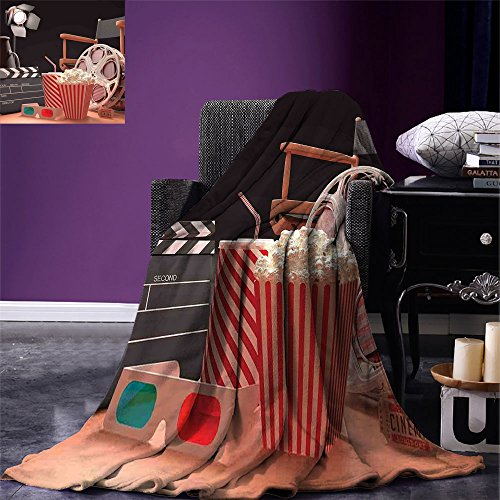 smallbeefly Movie Theater Throw Blanket Objects of the Film Industry Hollywood Motion Picture Cinematography Concept Warm Microfiber All Season Blanket for Bed or Couch Multicolor by smallbeefly