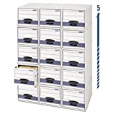 Bankers Box Stor/Drawer Steel Plus Storage Box, Letter, White/Blue, 6/Carton