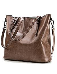 Myymee European and American Style Women Cowhide Shoulder Handbags Leather Bucket Bag