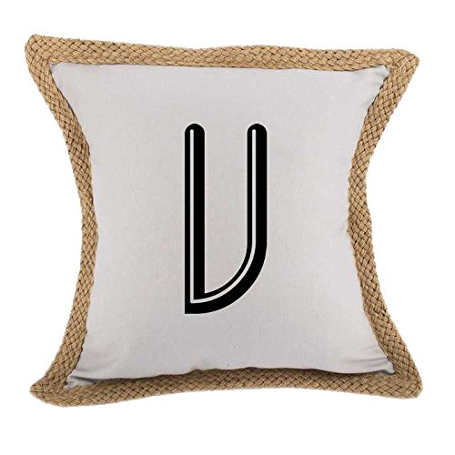 ''V '' Soccer Initial Monogram Letter V Bed Home Decor Faux Linen Pillow Cover Gray by Style in Print