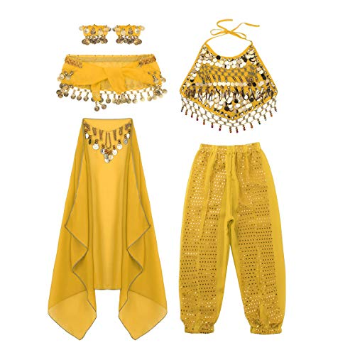 moily Kids Girls Arabian Princess Costume Sequins Belly Dance Outfit Halter Top Harem Pants 5 Pcs Set Yellow 6-7]()