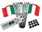Box of 12 Italy 4''x6'' Polyester Miniature Desk & Little Table Flags, 4x6 Italian Small Mini Hand Waving Stick Flags with 12 Flag Bases (Stands)
