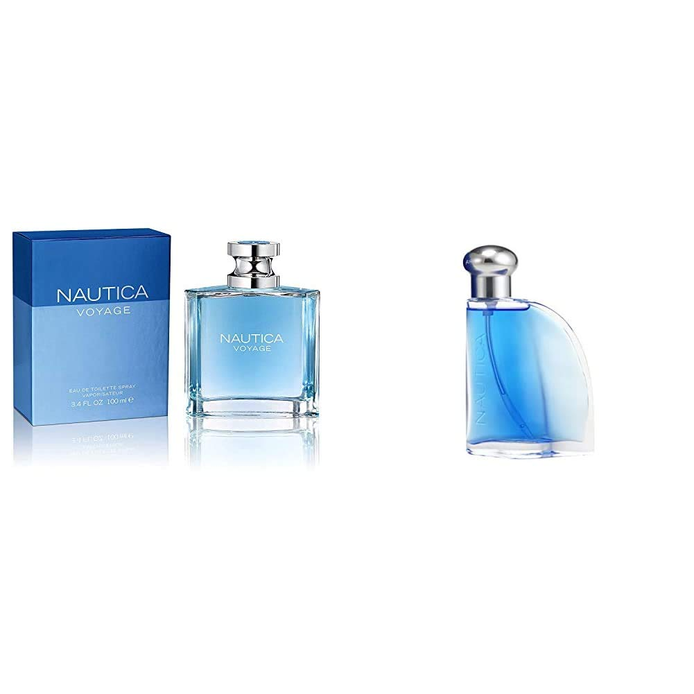 Nautica Voyage By Nautica For Men. Eau De Toilette Spray 3.4 Fl Oz and Nautica Blue Sail 1.6 Ounce Eau De Toilette Spray for Men