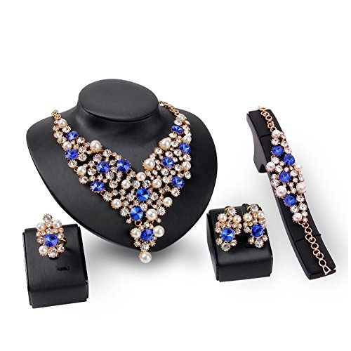 Everrich Luxurious Blue Crystal Bridal Cream Simulated Pearl Gold Plated Statement Necklace Earrings Jewelry Sets for Women Costume,4 ()