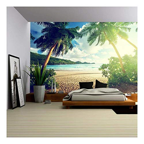 wall26 - Sunset on The Beach Takamaka, Mahe Island, Seychelles - Removable Wall Mural | Self-Adhesive Large Wallpaper - 66x96 inches (Beach Mural)