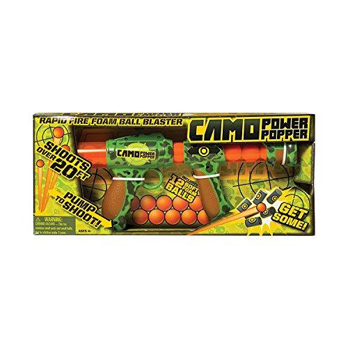 Hog Wild Camo Power Popper 12X - Rapid Fire Foam Ball Blaster Gun - Shoots Up to 12 Foam Balls