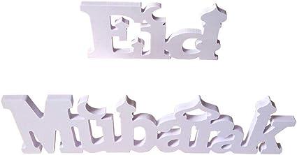 D/écoration De Table D/écoration Lettres//Centre De Table Pi/èce Eid Mubarak D/écoratif Bois Lettres Lettres Blanches D/écoration De Table pour La D/écoration du Jour du Mariage.