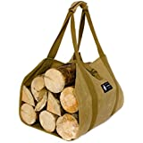 MyHomeIdeas Waxed Canvas Firewood Log Carrier Universal 16oz Canvas Tote Bag Rack Holder with Padded Velcro Strap Easy Grip and Strap Belt Dust-Proof Waterproof Large Size Heavy for Fireplace Handmade