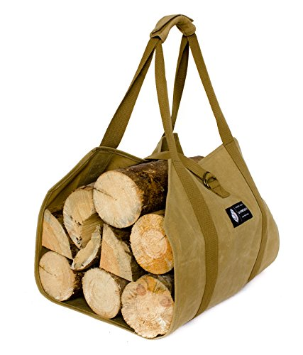 MYHOMEIDEAS Waxed Canvas Firewood Log Carrier Universal 16oz Canvas Tote Bag Rack Holder with Padded Strap Easy Grip and Strap Belt Dust-Proof Waterproof Large Size Heavy for Fireplace Handmade